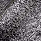 O couro preto do plutônio do falso do teste padrão do crocodilo da cor, imita o couro de sapata