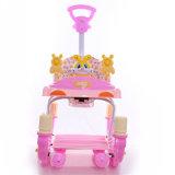 Caminhante plástico do bebê do carro do brinquedo do impulso do bebê com barra do impulso