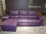 L genuino sofá del cuero de la dimensión de una variable con color negro