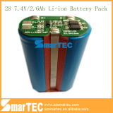 18650 recargable de litio 7.4V 2.2Ah Li-ion 2s paquete de la batería