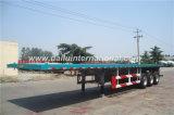 3 acoplado recto del transporte de contenedores del plano de la viga 40FT de los árboles semi