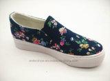 Ботинки холстины женщин с напечатанной холстиной цветка (ET-LD160103W)