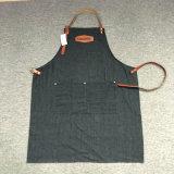 Avental feito sob encomenda da sarja de Nimes do preto do avental para Barista e barbeiro