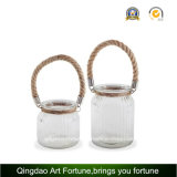 DecorのためのロープHandle Round Glass Candle Lantern