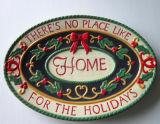 Plateau ovale en céramique peint à la main de vaisselle de Noël (GW1294)