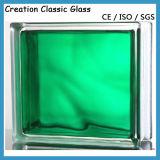 Bloco de vidro de parede verde azul