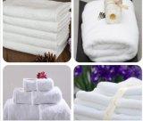 贅沢で白く明白な/Jacquard 32sの100%年の綿のホテルタオル