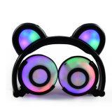 Faltbarer Karikatur-Bären-Kopfhörer mit buntem LED-Licht für Mädchen-Geschenk