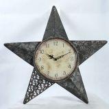 Orologio di parete domestico del metallo di figura della stella della decorazione