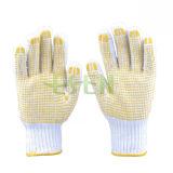 Горячие перчатки Kintted верхнего качества надувательства белые Хлопком Coated с многоточиями PVC