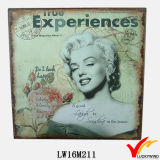 Placas decorativas Marilyn Monroe de la pared elegante lamentable americana del metal