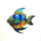 Decoração colorida Jewelled da arte da parede dos peixes do metal do olho para o jardim