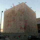 Aufbau verbarrikadiert Baugerüst-Ineinander greifen-Fahnen, sehen durch Ineinander greifen-Fahnen-Zaun-Verpackung