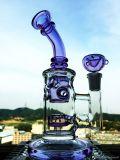11 Zoll-grünes und schwarzes Handblown Borosilicat-buntes rauchendes Glaswasser-Rohr