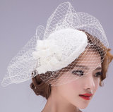 백색 까맣고 또는 빨간 또는 상아빛 Bowknot 결혼식 머리는 장식한다 신부 투구 Fascinator (꿈 H10023)를