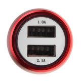 Double chargeur USB de véhicule d'USB 5V 2.1A avec le câble