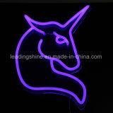 Unicorn 용감한 LED 네온 코드 밧줄 빛 모양 PVC 12V 훈장 빛