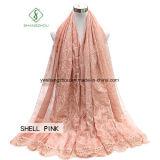 Signora Fashion Silk Scarf del merletto del ricamo tinta legame semplice del nastro