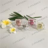 化粧品の包装のための正方形5g金のアクリルのクリーム色の瓶(PPC-ACJ-084)