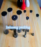 La transparencia de plástico PETG cilindros con dos casquillos negros Diseño