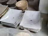 Белый мраморный каменный тазик мытья для ванной комнаты/кухни