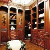 Double cabinet en bois grand de garde-robe découpé par luxe avec les tiroirs (GSP17-025)