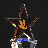 Trofeo di cristallo con la stella Cinque-Aguzza