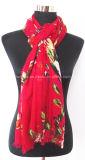 Impression Flourish rouge Foulard Lady Viscose Mince (HWBVS053)