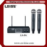 Microfono della radio di frequenza ultraelevata dei canali doppi di buona qualità Ls-P6
