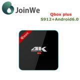 Androide 6.0 Ott Qbox más el rectángulo elegante de S912 2g 16g TV