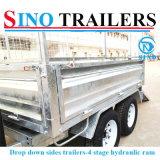 Drop Down Side Galvanized Tipping Trailer for Farm