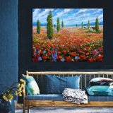De vreedzame Kunst van de Muur van het Platteland bloeit het Af:drukken van het Canvas van het Gebied