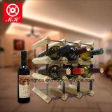 Estante práctico de la botella de la visualización del almacén de vino de la botella de madera 12