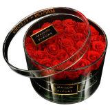 Rectángulo de acrílico de Rose del rectángulo de la flor del claro de la fuente de la fábrica con la tapa