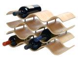 Estante ondulado del estante de visualización del vino rojo del sostenedor de madera superior de la venta