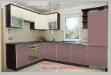 Woodgrainパターンが付いている高い光沢のある紫外線食器棚(カスタマイズされる)