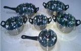 Il Cookware dell'acciaio inossidabile 10PCS ha impostato in coperchio di vetro Tempered