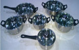 Cookware del acero inoxidable 10PCS fijado en tapa del vidrio Tempered