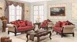 La sede di amore classica americana del sofà dello strato antico del tessuto con la Tabella ha impostato per il salone