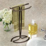 Estante negro del sostenedor de la toalla del eje del metal para la cocina del cuarto de baño