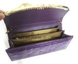 Sacchetto della borsa della spalla impresso cuoio della catena di reticolo del diamante dell'unità di elaborazione di brevetto delle donne