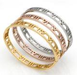 Moda de acero inoxidable hueco de joyería romana Lettle brazalete de pulsera