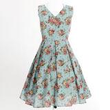 Платья Boho Linen v ворота хлопка флористические голубые