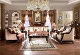 Klassisches Wohnzimmer-Couch-Antike-Gewebe-Sofa mit hölzerner geschnitzter Ordnung