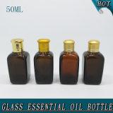 bouteille en verre ambre d'huile essentielle du couvercle à visser 50ml carré