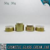 couleur de 50g 30g pulvérisant les chocs vides en verre de crème de face de choc en verre cosmétique