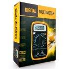 2000 multímetros digitais das contagens Mas838 com a temperatura que testa o multímetro digital