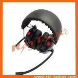 ダイナミックなマイクロフォンの倍ブームマイクロフォンが付いているカーボンファイバーのヘッドセット