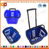 As cestas de compra portáteis plásticas do supermercado do mantimento com rolamento rodam (Zhb84)