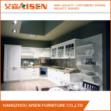 Weißer Farben-Exemplar-festes Holz-Art-Vinylverpackungs-Küche-Schrank